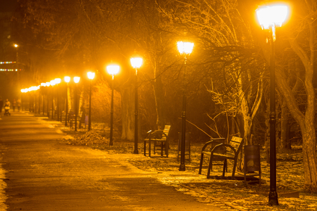 Pathway in winter park with row of lanterns. Evening city photo