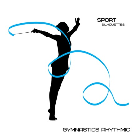 Sport silhouettes. Gymnastics rhythmic. Young girl with ribbon