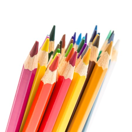 Bunch of colorful pencils isolated on white background photo