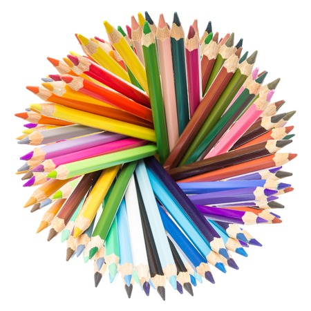 Various colorful pencils isolated on white background photo