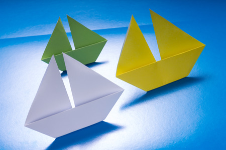 Concept paper navy. Origami model of ships photo