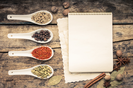 Menu background. Cook book toned image. Vintage image of recipe bacRecipe notepad with diversity of spices and herb. photo