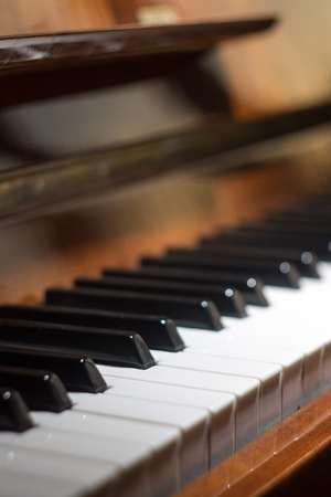 Piano keyboard. Music background with selective focus Stock Photo