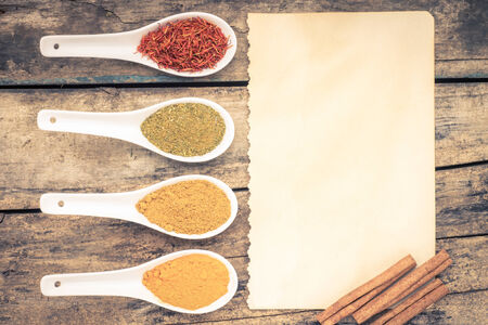 recipe background: Vintage Spices recipe background. Various condiments  Top View