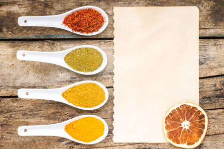 recipe background: Spices recipe background. Top View