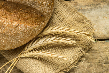 husbandry: Fresh bread with wheat ears on wooden table. Agricultural husbandry background Stock Photo