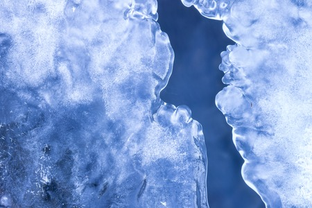 Water, snow and ice in nature pattern. Close up image
