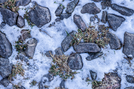 Stones, snow and ice in nature pattern photo
