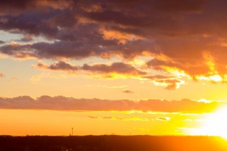 overcast: Sunset or sunrise landscape with dramatic overcast sky Stock Photo