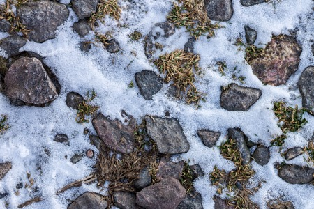 snow ice: Abstract winter texture background. Stones, snow and ice in nature pattern. Close up image Stock Photo