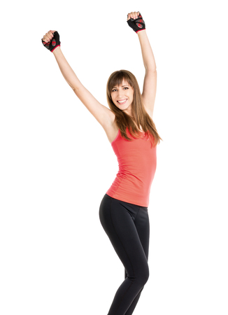 successfull: Happy fitness woman isolated on white background. Young slim caucasian girl express successfull emotions