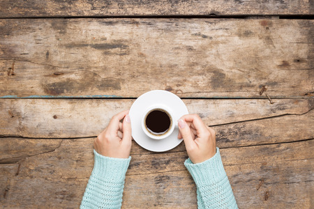 hold: Coffee break background. Stop working drink espresso Stock Photo