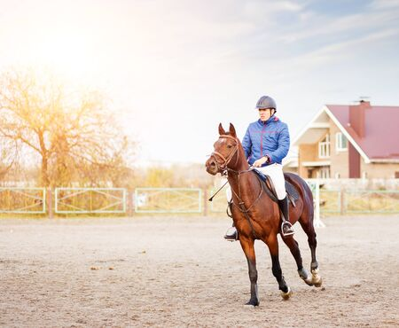 Young sportsman riding horse on equestrian competition. Stock Photo