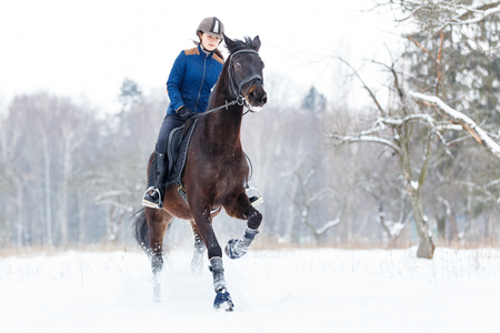 Young rider girl on bay horse galloping in winter