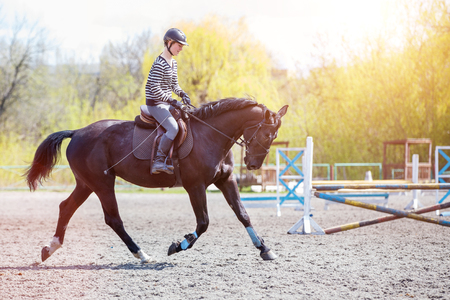 Girl riding horse on her course in show jumping Stockfoto