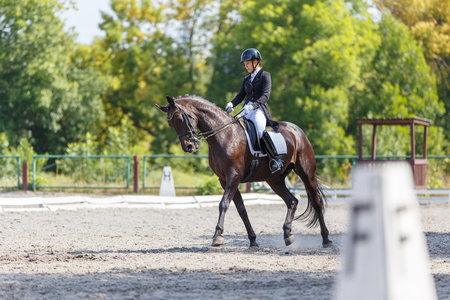 Young girl on bay horse performing dressage test Stock Photo