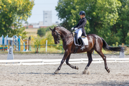 Young girl on bay horse performing dressage test