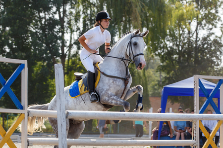 Equestrian sport. Young girl jumping over obstacle on show jumping competition Imagens