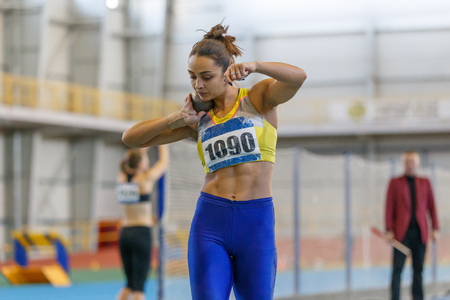 Athlète féminine professionnelle au secteur du lancer du poids