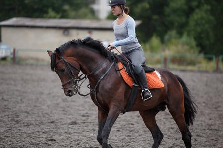 Junges Mädchen, das Buchtpferd auf Reitsporttraining reitet. Standard-Bild