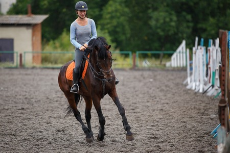 Young girl riding bay horse on equestrian sport training. Imagens