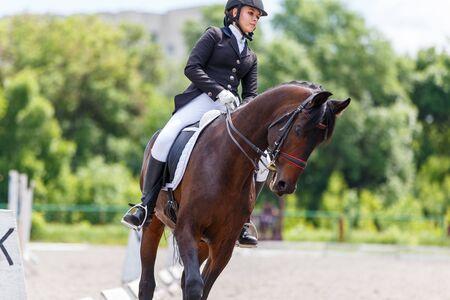 Młoda kobieta jeździec konny na imprezie sportowej jeździeckiej