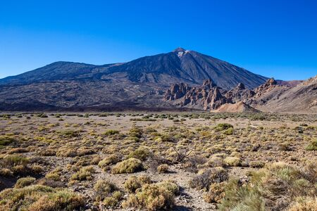 View of Teide volcano with its lava fields on Tenerife, Spain