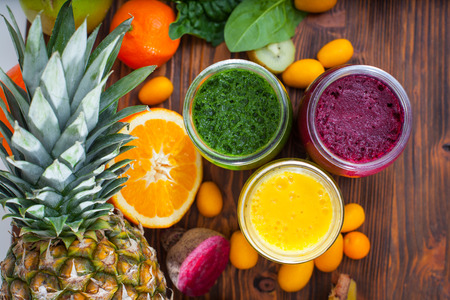 Blended green,yellow and purple smoothie with ingredients selective focus Stok Fotoğraf - 36627079