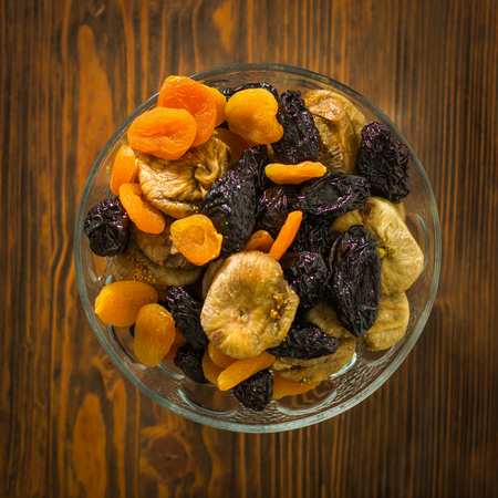 dry fruit: dry fruit on wooden table Stock Photo