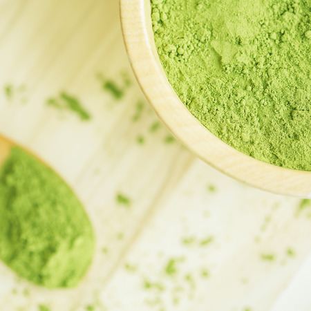 moringa: Super food Moringa green powder (Moringaceae) Stock Photo