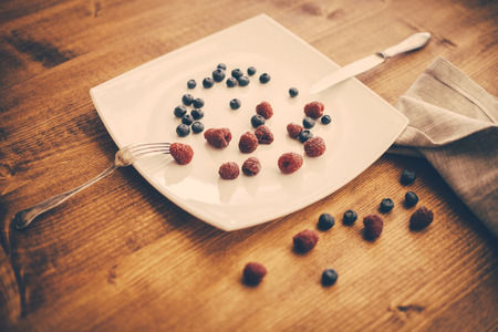 washed out: nice fresh berries on ceramic plate . Retro filter,washed out colors