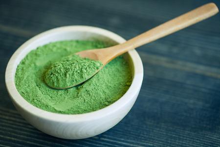 green powder: Super food Moringa green powder (Moringaceae) Stock Photo