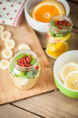 cutted: Fresh cutted fruit in jar Stock Photo