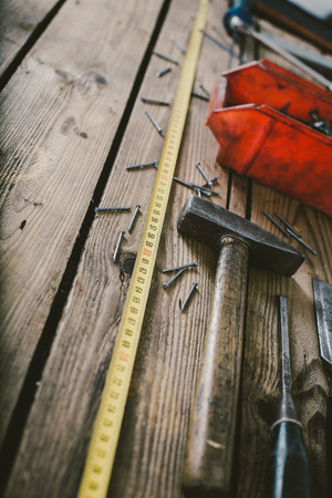 woodwork: Woodwork tools on wooden table