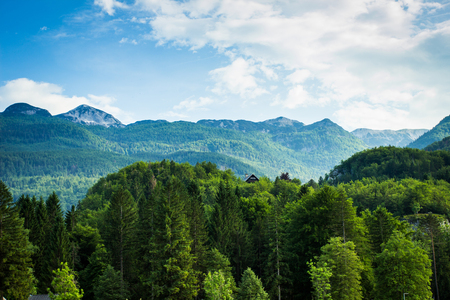 View of julian alps  in bohinj lake slovenia Stock Photo