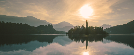 Panorama view of Bled lake in julian alps slovenia Reklamní fotografie