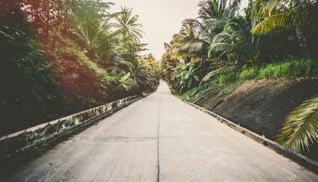 Road on tropical island - vintage retro style. Horizontal image. Sun flare added.