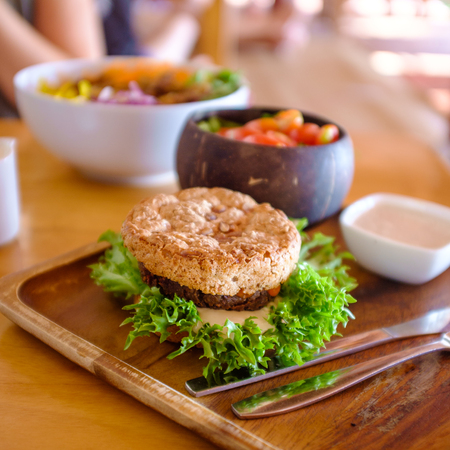 vegetable mushroom burger with salad and topping. Reklamní fotografie