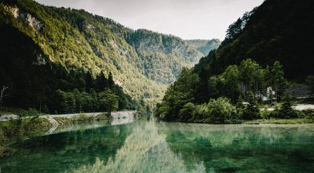 Sava Bohinjka River in Slovenia Julian Alps 写真素材