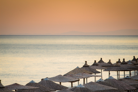 beach umbrellas 写真素材