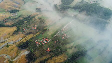 Overhead Aerial Shot of rural area .Shot From air.