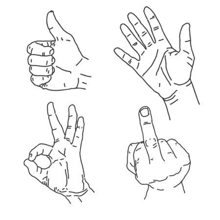 middle finger: Hand Gestures 1 Illustration