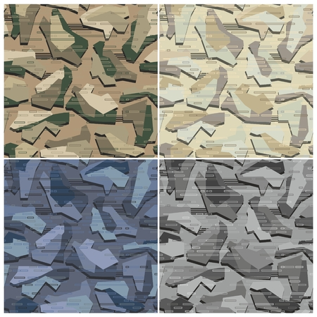 Camouflage Seamless Patterns Set