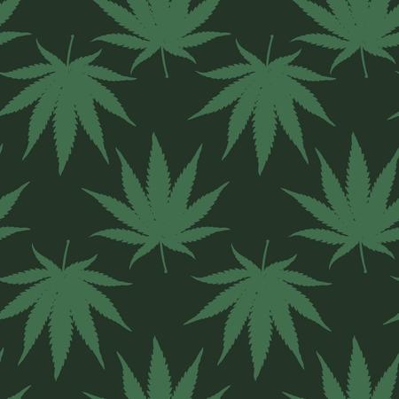 hoja marihuana: Ganja Weed Marijuana Vector inconsútil del modelo del fondo