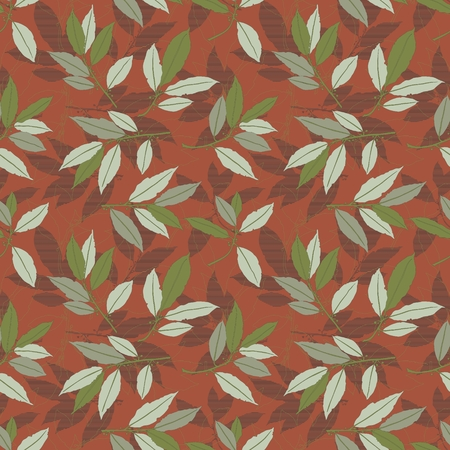 flowers on white: Floral Seamless Pattern Illustration of Laurel Leaves Background Illustration
