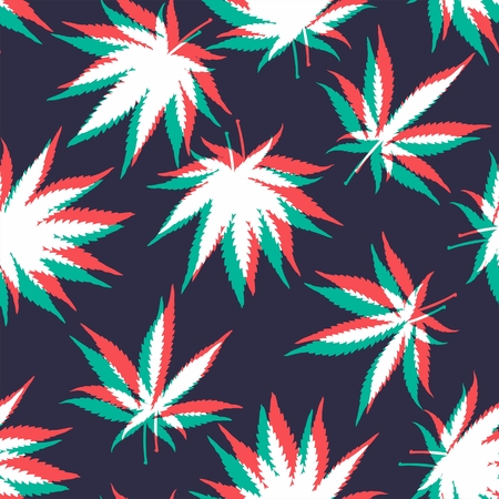 cannabis leaf: Ganja Weed Marijuana Seamless Vector Pattern Background