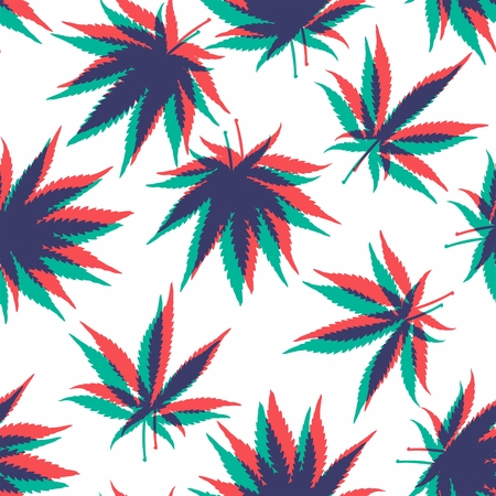 marijuana plant: Ganja Weed Marijuana Seamless Vector Pattern Background