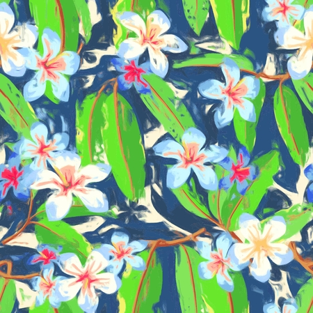Colorful Tropical Floral Seamless Pattern Ilustrace