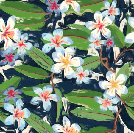 Colorful Tropical Floral Seamless Pattern Illustration