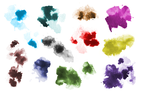 Colorful Watercolor Stains Set Stock Photo